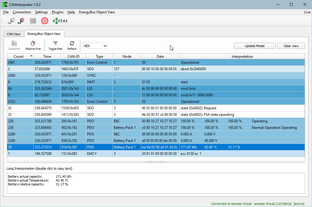 Screenshot der emotas EnergyBus Interpretation im CANinterpreter