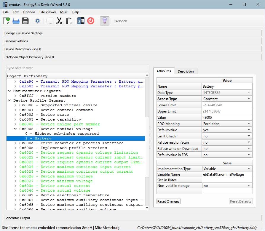 Screenshot emotas EnergyBus DeviceWizard Object Dictionary