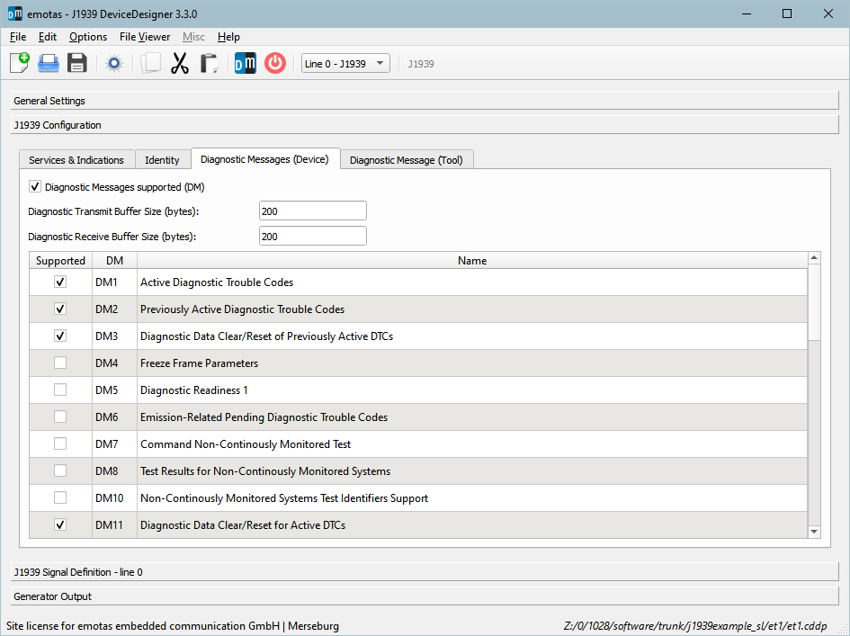 Screenshot emotas J1939 DeviceDesigner Diagnostic Messages settings