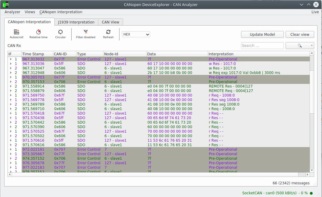 Screenshot von CANopen Routing nach CiA 302-7
